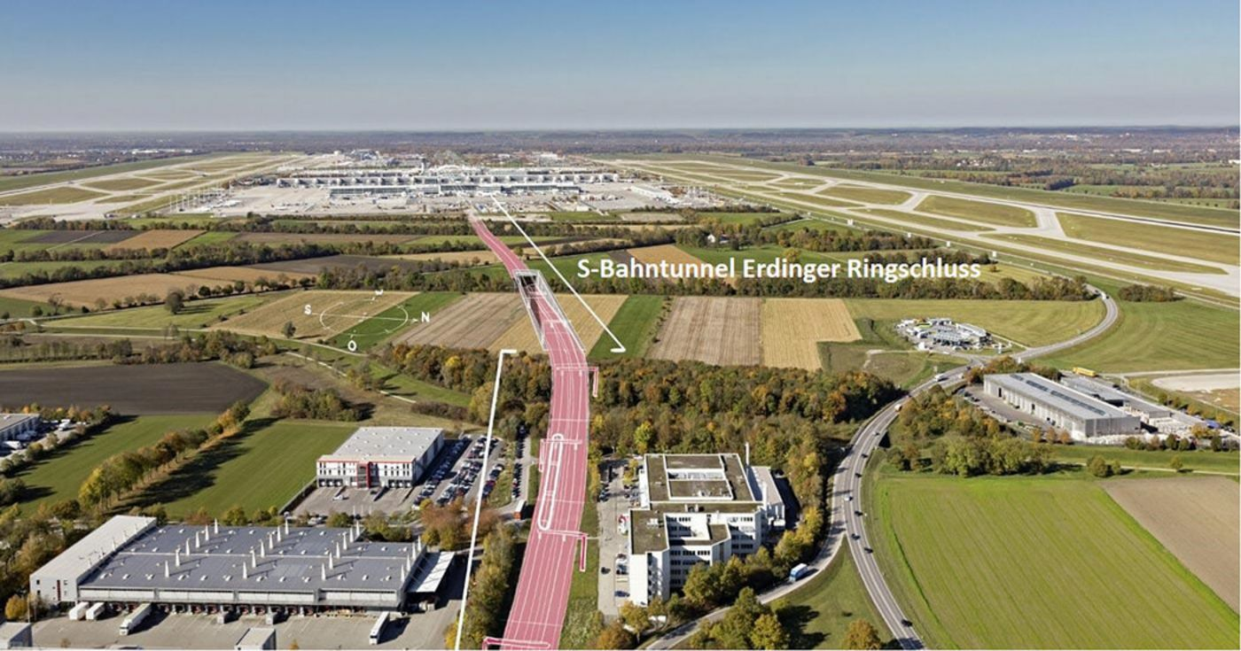 Photo: An aerial photograph of the area shows the course of the new suburban railway tunnel.