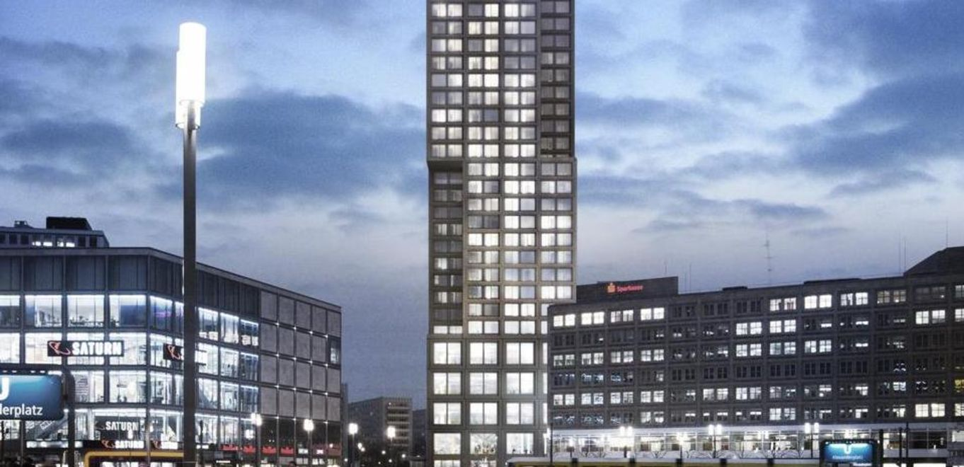 Rendering: The Alexander Tower by twilight